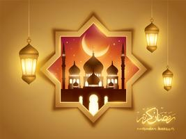 Ramadan Kareem islamisk bakgrund med moské och arabisk lykta vektor