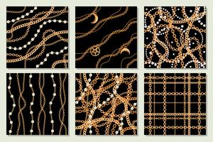 Set samling av samlösa mönster bakgrunder med päron och kedjor guld metallisk halsband. På svart. Vektor illustration