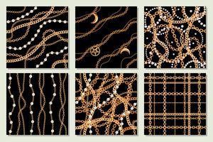 Stellen Sie Sammlung samless Musterhintergründe mit goldener metallischer Halskette der Birnen und der Ketten ein. Auf schwarz. Vektor-illustration