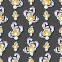 Låg lättnadskonst med 3-dimensionell och sömlös mönster bakgrundsdekoration.