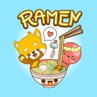 japan söt klotter röd panda och bläckfisk äta ramen