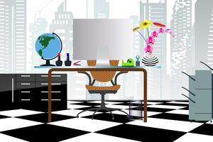 Geschäftskonzept ein Desktop an der flachen Art des Büros mit Atriumgebäuden in den transparenten Glasfenstern und kann heraus zum Stadtbild durchsehen. vektor