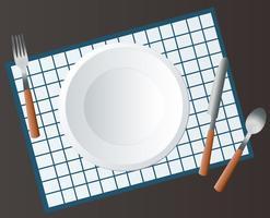 Leere runde Platte mit Gabel und Messer