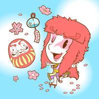 Japan söta doodle kabuki och daruma