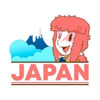 Japan söt klotter klistermärke och bakgrund vektor