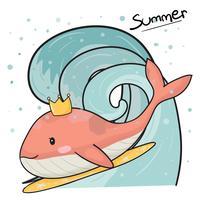 Netter rosa Wal mit Krone auf dem Surfbrett, surfend in flachen Vektor des großen Wellenhandabgehobenen betrages