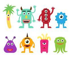 Samling av söta tecknade monster monster illustration