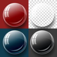 Transparent knapp och bubbla form.