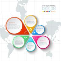 Geschäftsaufkleber infographic auf Weltkartehintergrund. vektor