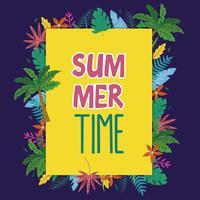 Sommarram med palmer och tropiska löv vektor