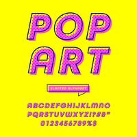 snedställd popkonst alfabet vektor