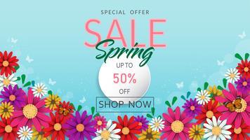 Frühlingszeit blüht Verkaufsfahne und -hintergrund.