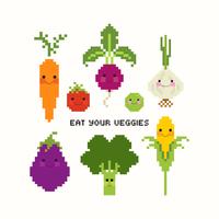 Söt grönsaker Pixel Art Vector Set