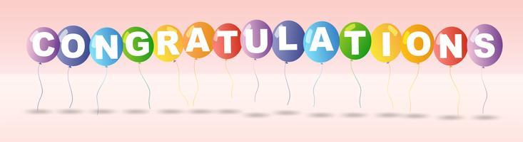 Grattis kortmall med färgglada ballonger vektor
