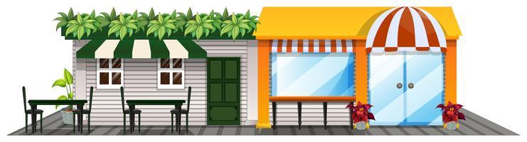 Zwei Geschäfte mit Essbereich im Freien