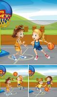 Szenen mit Mädchen, die Basketball auf den Plätzen spielen
