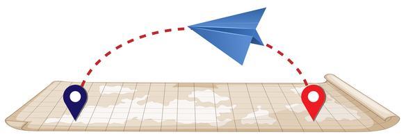 Papierflieger und Karte vektor