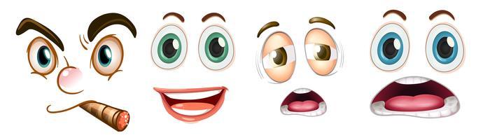 Set av ansiktsuttryck vektor