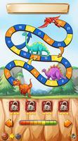 Spielschablone mit Dinosauriern auf Klippe vektor