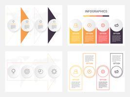 Sats av företagsinfografiska mallar med 4 steg, processer eller alternativ. Abstrakt modern infografisk.