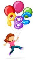 Tjej som flyger med färgglada ballonger
