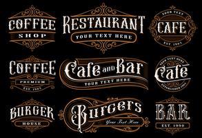 Sats med vintage bokstäver illustration för catering.