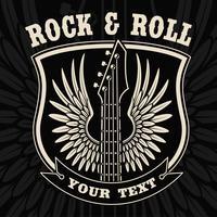 Vintage emblem av gitarr med vingar på den mörka bakgrunden.