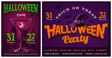 Sats av halloween parti affischer.