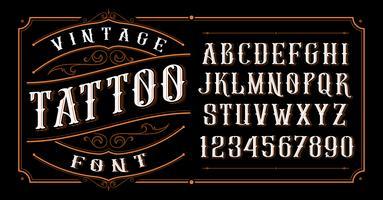 Vintage Tattoo Schriftart. vektor