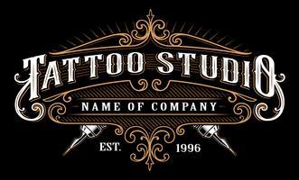 Vintage tatuering studio emblem_2 (för mörk bakgrund) vektor