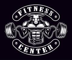Vintage emblem av en tjur bodybuilder på den mörka bakgrunden. vektor