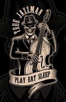Vintage Illustration des Schädelmusikers mit Kontrabass