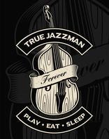 Vector Illustration des Kontrabasses mit Band, auf dem dunklen Hintergrund.