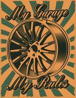 Vintageaffisch med bilskiva vektor