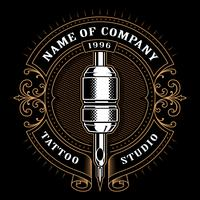 Vintage tatuering studio emblem_1 (för mörk bakgrund)