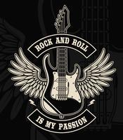 Rock and roll gitarr med vingar illustration
