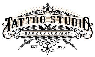 Vintage tatuering studio emblem_2 (för vit bakgrund)