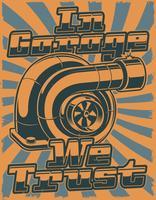 Retro affisch med turboladdare