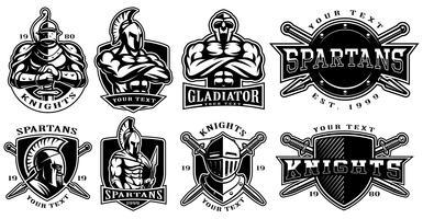 Sats med märken med forntida krigare (för vit bakgrund)