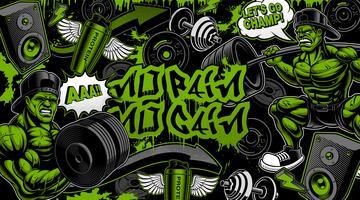 Färgrik bakgrund för gymmet i graffiti stil