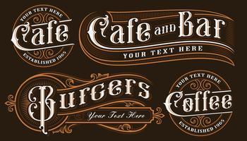 Sats med vintage bokstäver illustrationer av catering.
