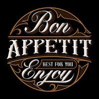Bon appetit bokstäver design.