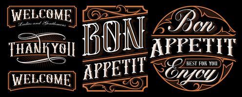 Set med vintage bokstäver design för catering.