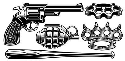 Satz Schwarzweißabbildungen von verschiedenen Waffen.