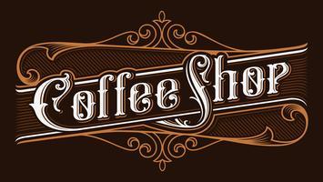 Kaffebutik vintage bokstäver illustration.