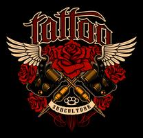 Tattoo design. Skjorta grafisk med gammal skola tatueringsmaskiner och rosor. vektor