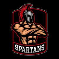 Sparpartan krigare logo design. vektor