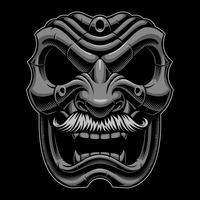 Samurai mask med mustahce.