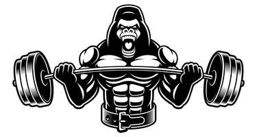 Svartvit bild av en gorilla med barbell vektor