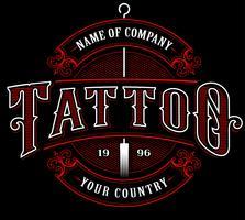 Vintage tatueringstudio emblem_4 (för mörk bakgrund)